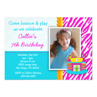 Bounce House Birthday Invitation Zebra Print Pink
