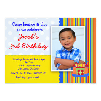 Bounce House Birthday Party Invitation Boy