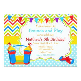 Bounce House Bouncy Castle Birthday Blue Card