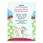 "Bounce House Party Invitations Green Boy and Girl 5"" X 7"" Invitation Card"
