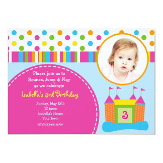 Bounce House Photo Birthday Party Invitations
