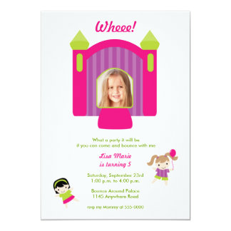 Bounce House Photo Girls Birthday Invitation