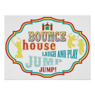 Bounce House Sign Carnival Circus Birthday