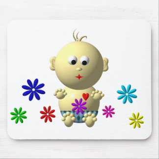 BOUNCING BABY BOY WITH 7 FLOWERS MOUSE PAD