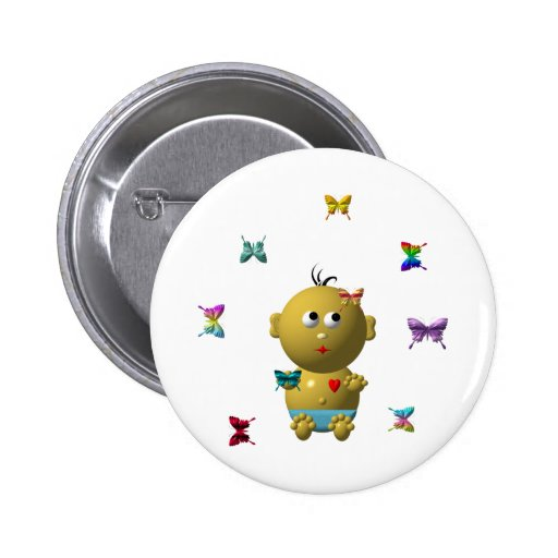 BOUNCING BABY BOY WITH 9 BUTTERFLIES PIN