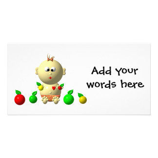 BOUNCING BABY GIRL WITH 6 APPLES PICTURE CARD