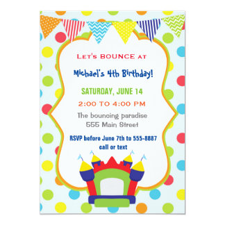 Bouncing Invitation Kids Birthday Party Bounce
