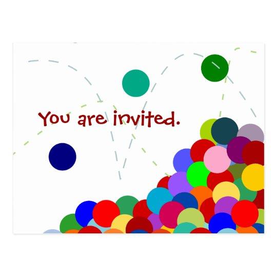 Bouncing Party Invitation Postcard