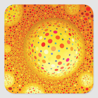 Bouncing Spotted Balls Square Sticker