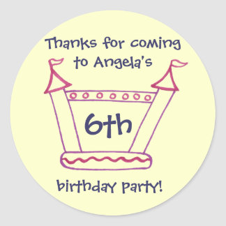 Bouncy House Girls Birthday Thank You Round Sticker