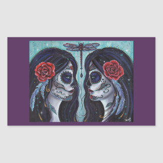 Bound day of the dead art stickers by Renee Lavoie