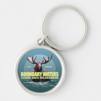 Boundary Waters CAW (Moose) WT Silver-Colored Round Keychain