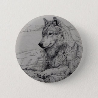 Boundary Waters Wolf 2 Inch Round Button