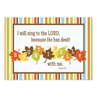 "BOUNTIFUL 2-Sided Scripture Thanksgiving Card 5"" X 7"" Invitation Card"