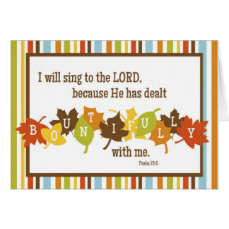 BOUNTIFUL Folded Scripture Thanksgiving Card-BLANK Greeting Card