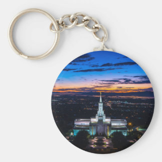 Bountiful Lds Mormon Temple Sunset Basic Round Button Keychain