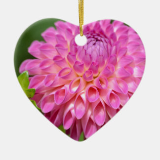 Bountiful Pink Dahlia and Bud Poster Ceramic Ornament