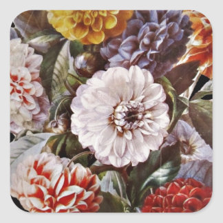 Bouquet antique de dahlias sticker carré