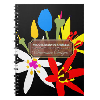 Bouquet Blossoms Decorative Black Modern Notebook