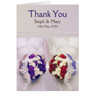 Bouquet Brides Card: Lesbian Wedding Thank You Card