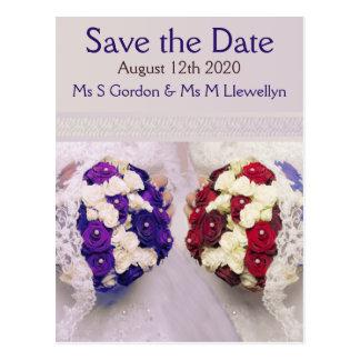 Bouquet Brides Lesbian Save the Date Postcard