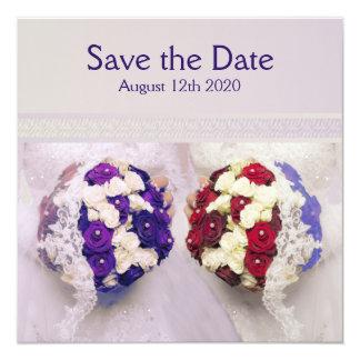 "Bouquet Brides Lesbian Wedding Save the Date Card 5.25"" Square Invitation Card"