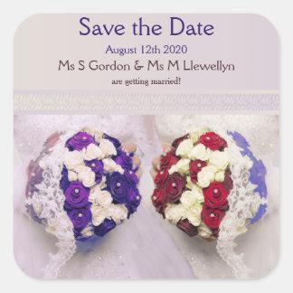 Bouquet Brides Lesbian Wedding Save the Date Square Sticker