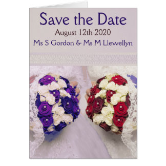 Bouquet Brides Save the Date Lesbian Notecard Note Card