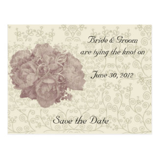Bouquet Cream Rose Save the Date Postcard