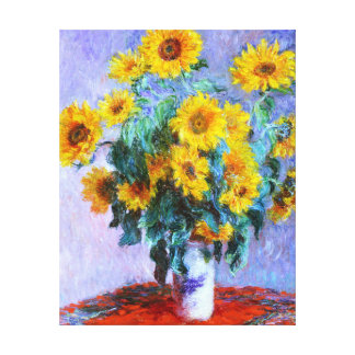 Bouquet de Monet des beaux-arts de tournesols Toile Tendue Sur Châssis