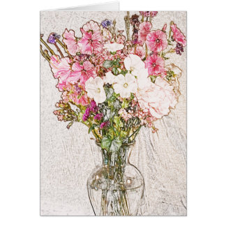Bouquet in clear vase collection card