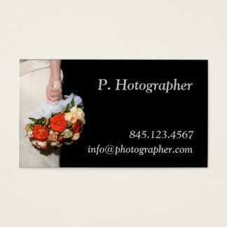 Bouquet in hand on black business card
