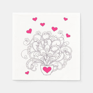 bouquet in the cup with love disposable napkins