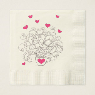 bouquet in the cup with love paper napkin