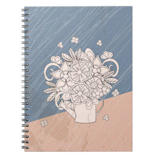 bouquet in the watering dog spiral note book