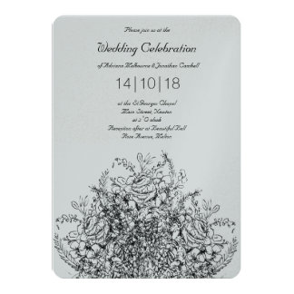 Bouquet Line Drawing Classic Wedding Invitation