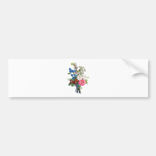 Bouquet of Camellia and Auricula by Prevost Bumper Sticker