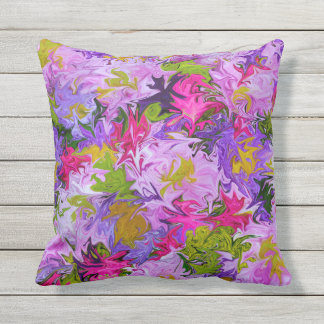 Bouquet of Colors Abstract Art Design Throw Pillow