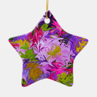 Bouquet of Colors Floral Abstract Art Design Ceramic Ornament