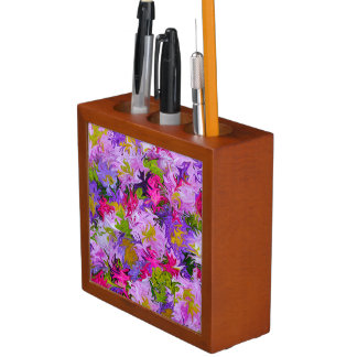 Bouquet of Colors Floral Abstract Art Design Desk Organizer