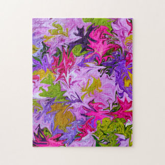 Bouquet of Colors Floral Abstract Art Design Jigsaw Puzzle