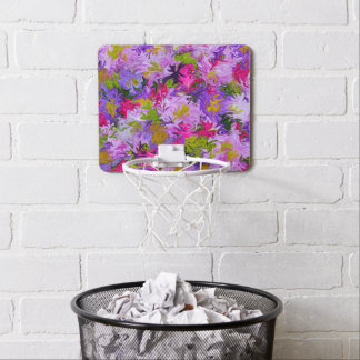 Bouquet of Colors Floral Abstract Art Design Mini Basketball Hoop