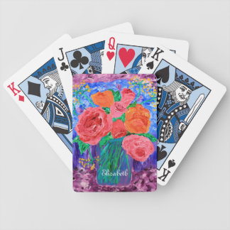 Bouquet of English Roses in Mason Jar Painting Bicycle Playing Cards