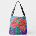 Bouquet of English Roses in Mason Jar Painting Crossbody Bag