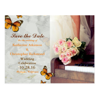 bouquet of flowers,bride and piano/butterfly theme postcard