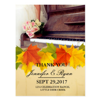bouquet of flowers,bride and piano/fall theme postcard