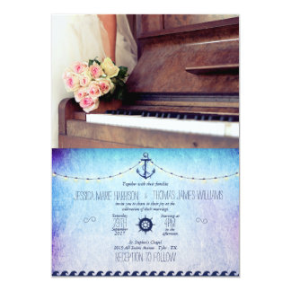 bouquet of flowers,bride and piano/nautic theme card