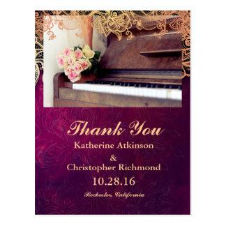 bouquet of flowers,bride and piano/purple vintage postcard