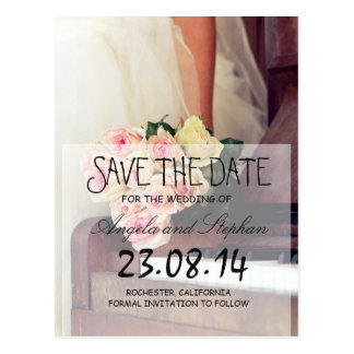 bouquet of flowers,bride and piano/Save The Date Postcard
