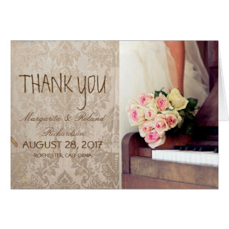 bouquet of flowers,bride and piano/Thank You Card